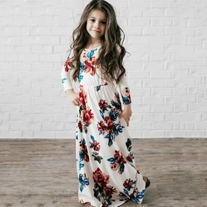 White Floral Long dress for kids